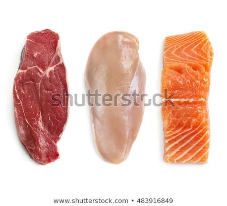 Friss nyers bifsztek csirkemell lazac filé Stock fotó © dash