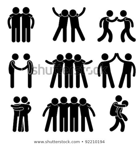 люди друзей черный вектора икона символ Сток-фото © blaskorizov