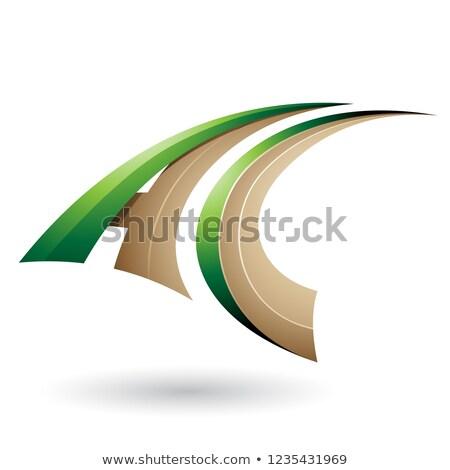 緑 ベージュ ダイナミック 飛行 手紙c ベクトル ストックフォト © cidepix