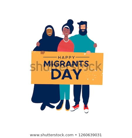 Migrants Day card of diverse friends holding sign Stock photo © cienpies