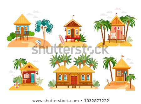 Yaz ayarlamak ada bungalov örnek plaj Stok fotoğraf © colematt