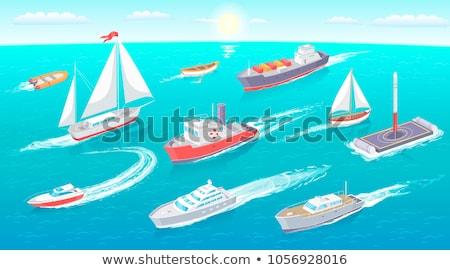 воды транспорт парусного лодка Motor набор Сток-фото © robuart