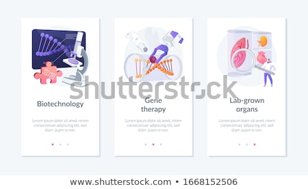 Biotecnologia aplicativo interface modelo cientistas olhando Foto stock © RAStudio