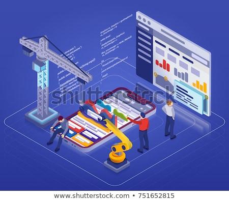 Robotika építkezés app interfész sablon robot Stock fotó © RAStudio