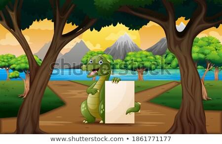 Krokodil erdő jelenet illusztráció fa fa Stock fotó © bluering