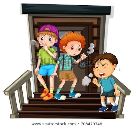 Trois garçons fumer cigarette escaliers illustration Photo stock © colematt