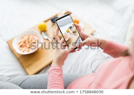 saludable · muesli · cuchara · desayuno · alimentos · blanco - foto stock © kzenon