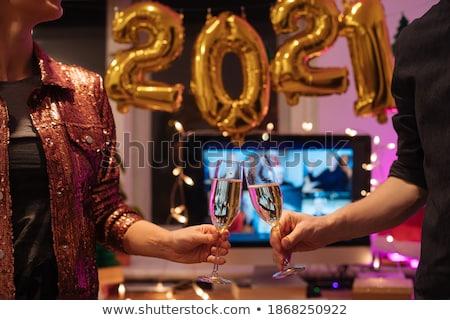 Człowiek kobieta toast nowy rok ilustracja szczęśliwy Zdjęcia stock © adrenalina