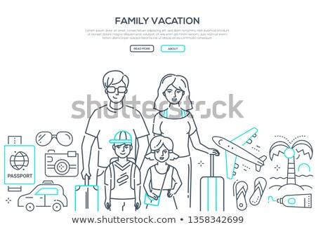 turisták · ünnep · modern · terv · stílus · illusztráció - stock fotó © decorwithme