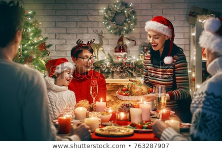 счастливая · семья · Рождества · обеда · домой · праздников · семьи - Сток-фото © dolgachov