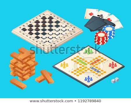 Set of 3D chips for board games, vector illustration. stock photo © kup1984