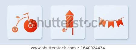 Kicsi gombok nagy gomb zászló fehér Stock fotó © colematt