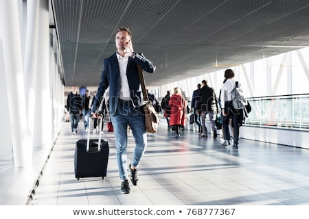 Man Rushing to Work, Businessman Talking on Phone Stock photo © robuart