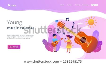 Müzikal kamp iniş sayfa mutlu çocuklar Stok fotoğraf © RAStudio