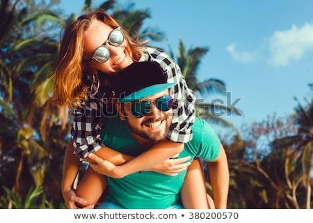 Jovem amoroso casal sorridente alegremente mulher Foto stock © nyul