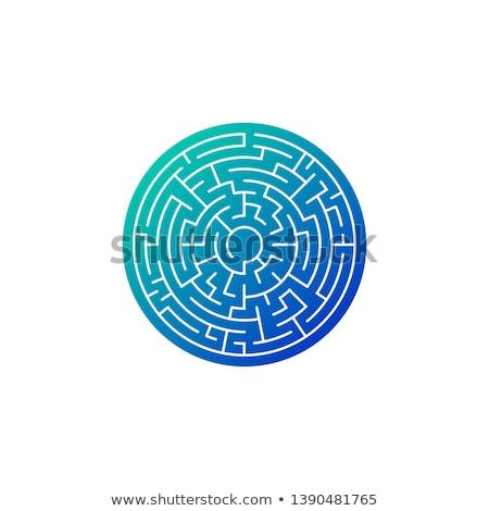 Cerchio labirinto blu gradiente icona isolato Foto d'archivio © kyryloff