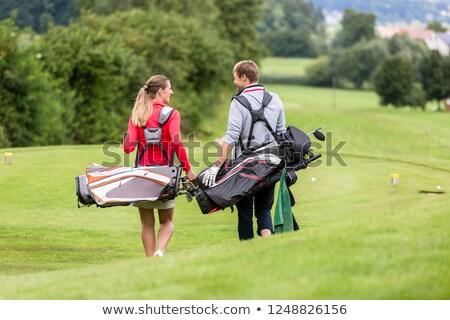 homme · sac · de · golf · herbe · sport · aigle - photo stock © kzenon