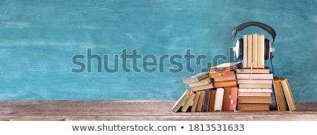 аудио книга черный наушники книгах Кубок Сток-фото © neirfy