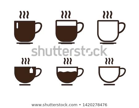 Stok fotoğraf: Kahve · fincanı · ikon · beyaz · vektör · örnek · su