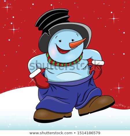 Illustration bonhomme de neige bleu pants rouge Photo stock © brux