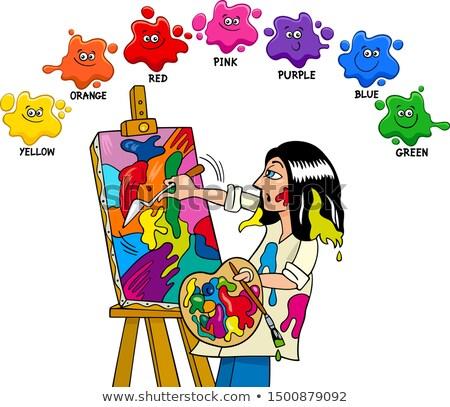 Fundamenteel kleuren onderwijs kunstenaar schilder cartoon Stockfoto © izakowski