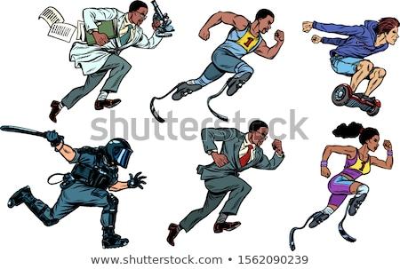 Ingesteld collectie atleet runner gehandicapten politie Stockfoto © studiostoks