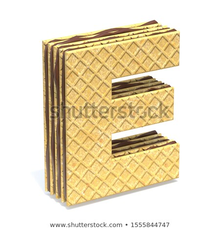 Waffles font with chocolate cream filling Letter E 3D Stock photo © djmilic