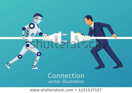 ロボット工学 ロボットの 腕 協力する ノートパソコン ストックフォト © RAStudio