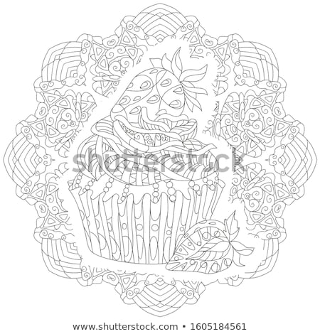 Decorative cupcake pattern on a patterned round substrate Stock photo © Natalia_1947