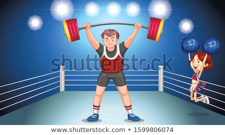 Athlete doing weightlifting on stage Stock photo © bluering