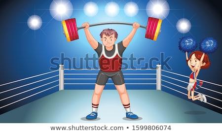 Atléta súlyemelés színpad illusztráció férfi boldog Stock fotó © bluering