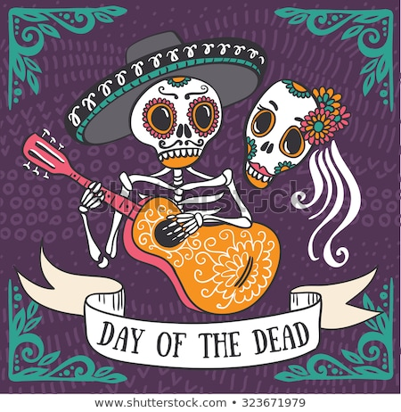 Day of the dead Mexican sugar skull Spanish card Stock photo © cienpies