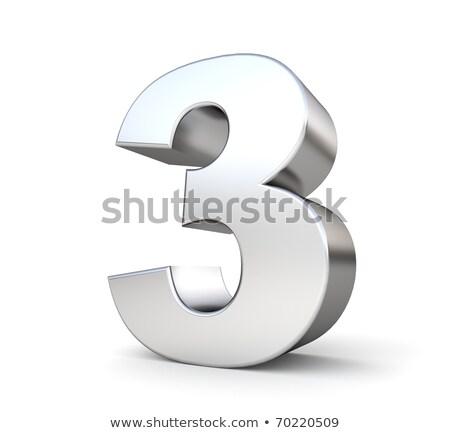 Brushed metal font Number 3 THREE 3D Stock photo © djmilic