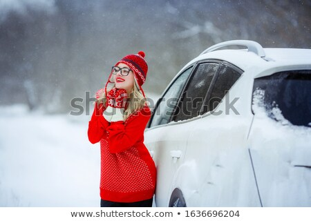 A woman against a snowy valley dressed in mittens and a red swea Stock photo © ElenaBatkova