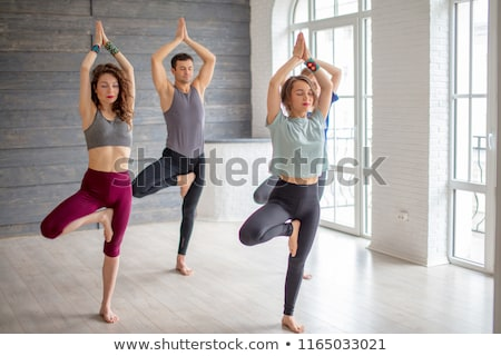 Group of women and men in yoga gym performing the tree pose Stock photo © Kzenon