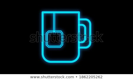 Vintage Glow Signboard with Brewed Tea Bag in Cup Stock photo © lissantee
