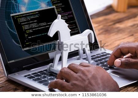 Trojański konia laptop ekranu wirusa działalności Zdjęcia stock © AndreyPopov