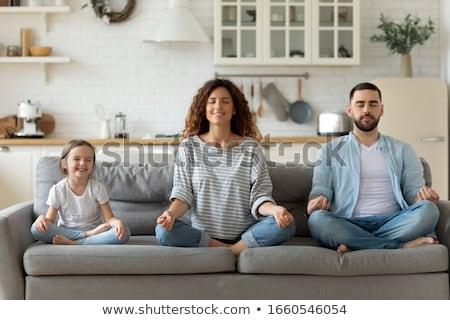 Сток-фото: медитации · группа · людей · парка · солнце · девушки