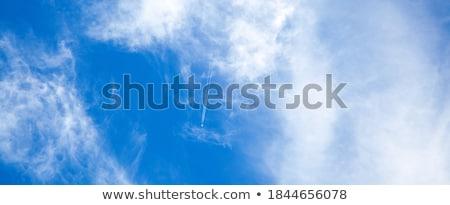 branco · condensação · trilha · jato · azul · blue · sky - foto stock © latent
