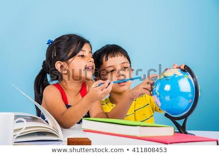 индийской любопытный Kid глядя камеры белый Сток-фото © ziprashantzi