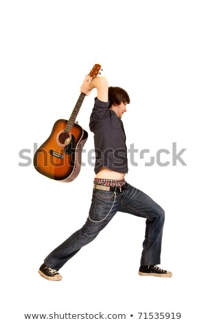 Aggressive young man about to smash his guitar Stock photo © photography33