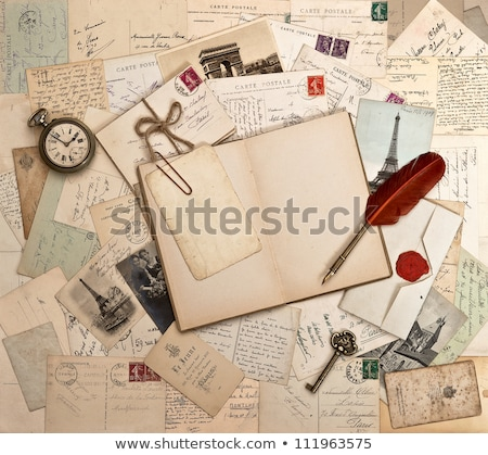woman writing on a notebook with a feather stock photo © photography33