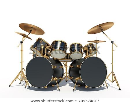ドラム · カットアウト · セット · 赤 · 孤立した - ストックフォト © smuki