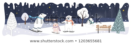 Stockfoto: Beer · winter · vector · sneeuwvlokken · poster · voedsel