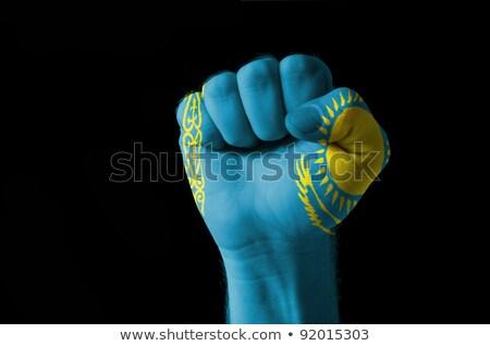 Fist Painted In Colors Of Kazakstan Flag Foto stock © vepar5