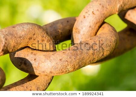 macro chain link rusted steel stock photo © lunamarina