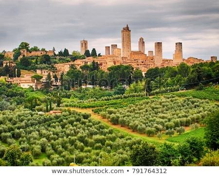Сток-фото: Towers · Тоскана · Италия · известный · средневековых · каменные