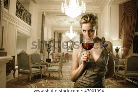 Belo loiro menina cadeira atraente caucasiano Foto stock © kokimk