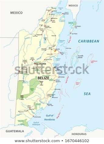 Belize térkép illusztráció régiók szín vidék Stock fotó © Volina