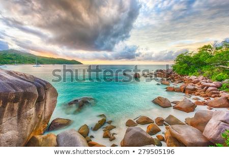 Plaj ada Seyşeller gökyüzü su manzara Stok fotoğraf © kubais